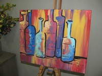 Clients create a complete art piece as they sip a favorite beverage during a two-hour session.