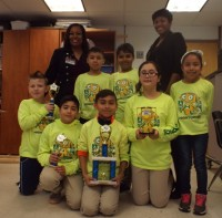 The Hightower Highbots team members are Andy Quintanilla, Orlando Gama, Sebastian Ramirez, Bryce Marshall, Brenda Sanchez and Katherine Portillo. Also pictured are Principal Sheila George, left, and technology teacher Sondra Owens, right. Photos by R. Scott Belzer