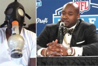 A self-recorded video of Laremy Tunsil smoking an unknown substance through a bong gas mask was posted through his Twitter account minutes before the 2016 NFL draft. The once-projected top-5 pick dropped to No. 13 to the Miami Dolphins.