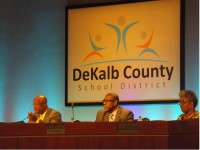 DeKalb County School District board chairman Melvin Johnson and superintendent Stephen Green discussed teacher shortages with staff and the public. Photo by R. Scott Belzer