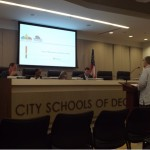 Decatur assistant city manager Lyn Menne and real estate advisor Ken Bleakly presented the idea of a TAD in east Decatur to the City Schools of Decatur board of education on June 14. Photos by R. Scott Belzer