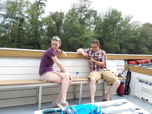 Lisa Creveling and her brother Chris played Pokemon Go while exploring the Augusta Canal.