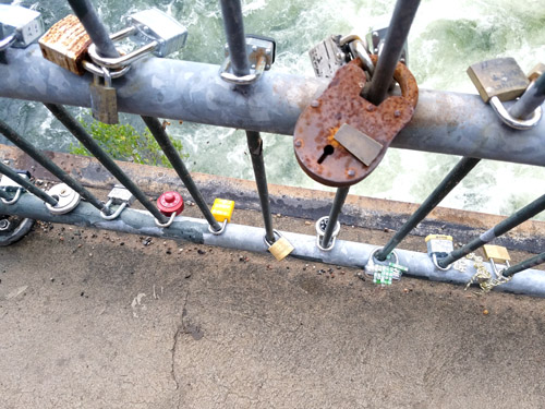 Known as the Love Locks, this bridge is a popular place for lovers to engrave a lock with a date of significance and attach it to a fence over the canal.