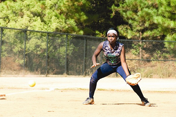 Arabia Mountain's Myia Lewis waits for the ball at third base.