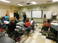Meeting attendees were placed in classrooms to engage with MTG of America for a more intimate discussion regarding ESPLOST V.
