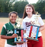 Arabia Mountain's Kayla Phillips, left, won the MVP award for the Red All-star team and Dunwoody's Megan Pierce won the Blue MVP Award. Photo by Mark Brock