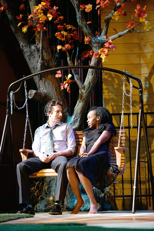 Eric Mendenhall , left, and Fedna Jacquet become friends and lovers in True Colors Theatre Company's production of Proof.