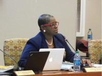 Vicki Turner questioned how much money the district is spending to hold DeKalb County School District commencement ceremonies at the Georgia World Congress Center in May preceding a $200,000 contract approval for video and audio services. Photo by R. Scott Belzer