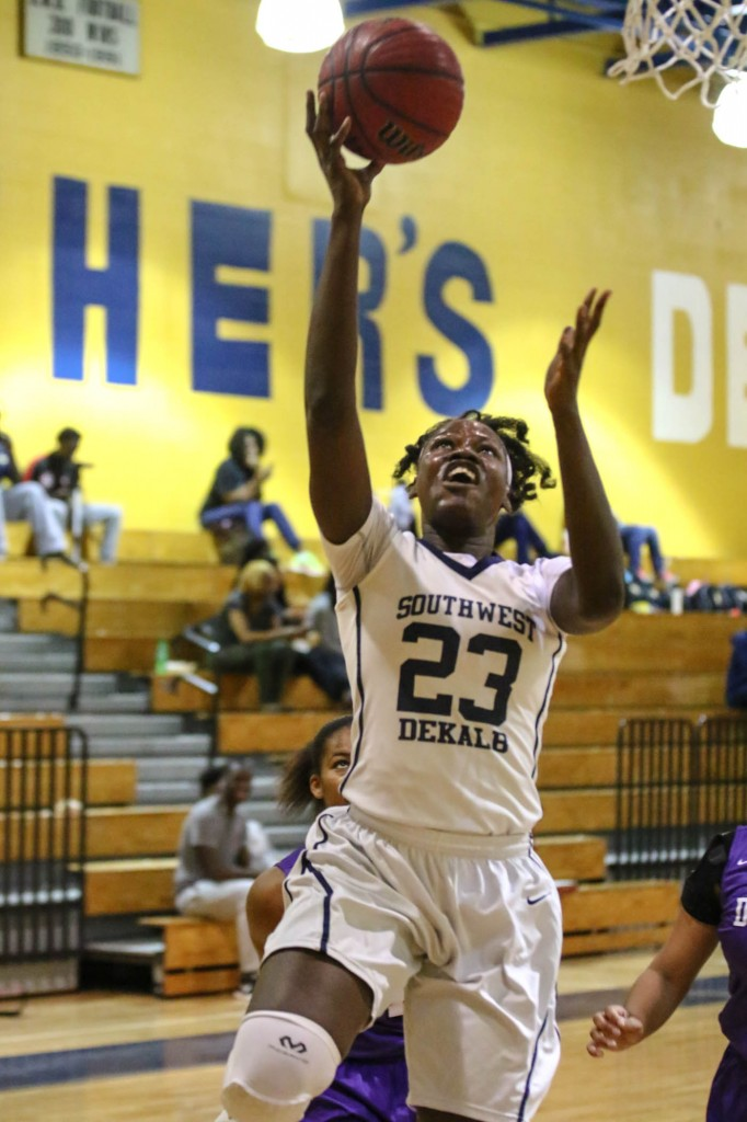 Southwest DeKalb's Ogheneruona Uwusiaba goes up for a lay-up. Photo by Travis Hudgons