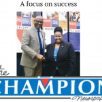 Accounting student Sonya Bingham was chosen as Georgia Piedmont Technical College's 2017 GOAL Award winner for her academic excellence and leadership in the classroom. She was announced and congratulated during a Feb. 2 luncheon by GPTC President Jabari Simama (pictured). Photos submitted.