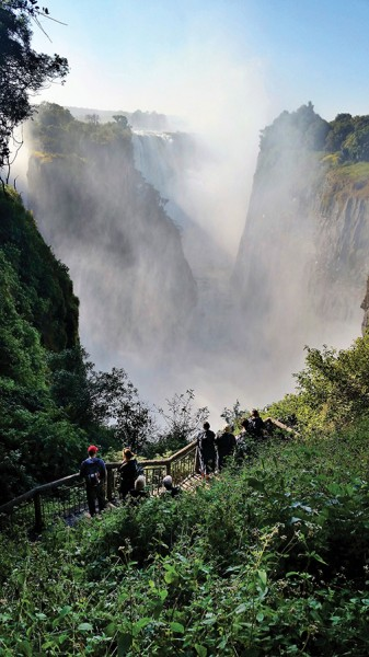 A staircase at Victoria Falls gives visitors a birds-eye view of the cascading water. Photos by Gale Horton Gay