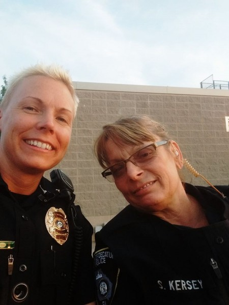 Sgt. Hall, left, takes a photo with fellow officer Kersey. Hall said she is deathly afraid of spiders. Photo provided by city of Decatur Police Department.