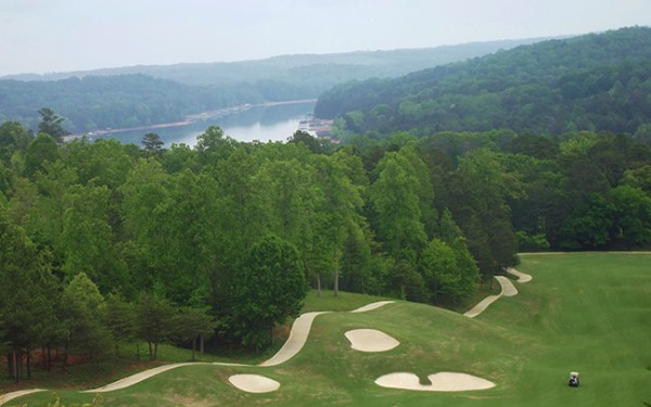 A section of the golf course with Lake Hartwell in the background