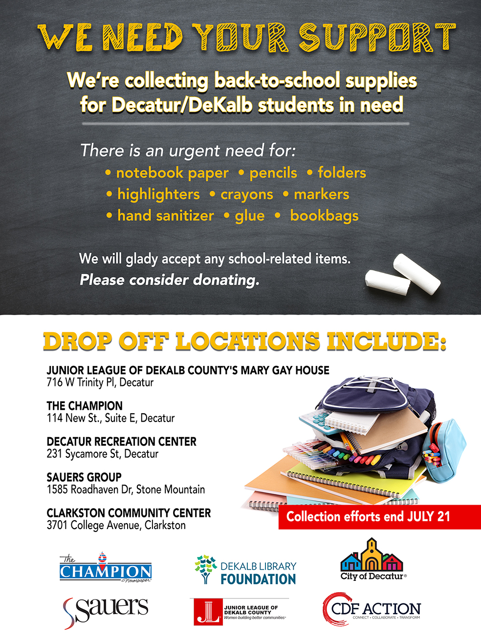 We're collecting back-to-school supplies for Decatur/DeKalb students in need