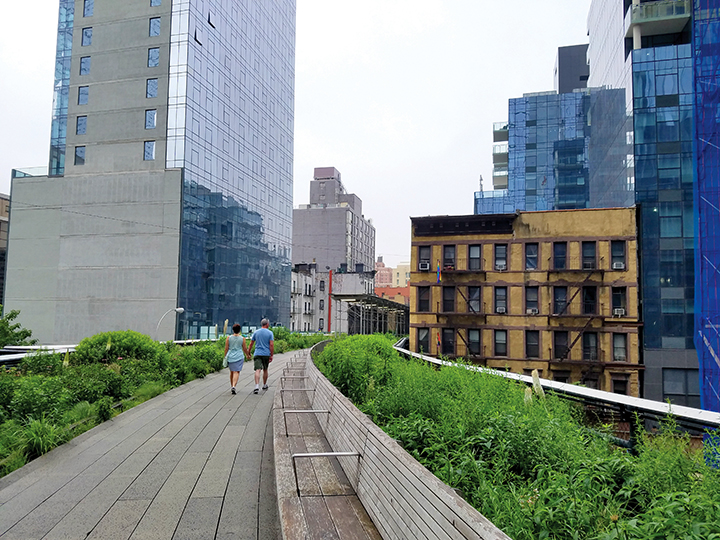 The 1.45-mile High Line occupies an elevated rail line that in its prime carried goods through Manhattan's largest industrial district. Photos by Gale Horton Gay