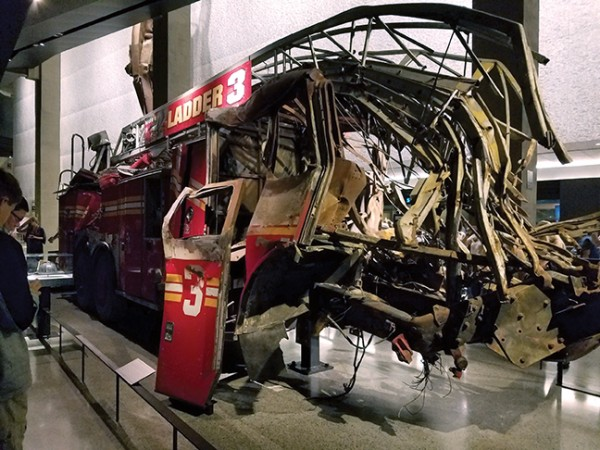 A fire engine destroyed in the attack on the Twin Towers on Sept. 11, 2001 is one of the artifacts on display at the 911 Memorial & Museum. Photos by Gale Horton Gay