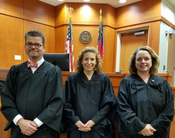 From left, DeKalb County Magistrate Court judges Matthew McCoyd, Hollie Manheimer and September Guy.