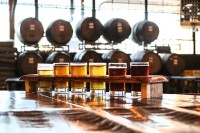 A flight of craft beers at Wild Heaven Brewery. Photo by Travis Hudgons