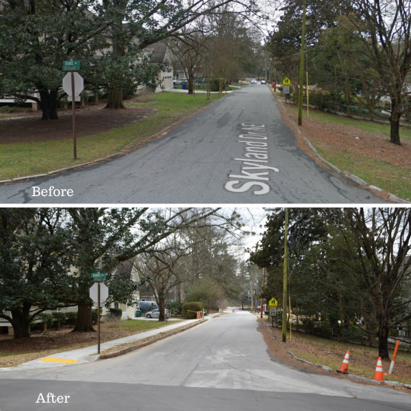 Each street before and after the sidewalk sections were completed. Photos courtesy of the city of Brookhaven.