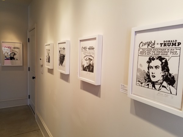 """Different Trains Gallery's exhibit """"Cisco Kid vs Donald Trump"""" features prints in which artist Kosmo Vinyl re-wrote the dialogue in the speech bubbles to make political statements.  It runs through March 3."""